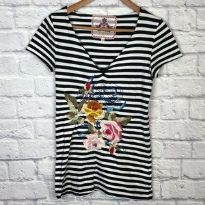 Johnny Was Black & White Stripe Floral Embroidered